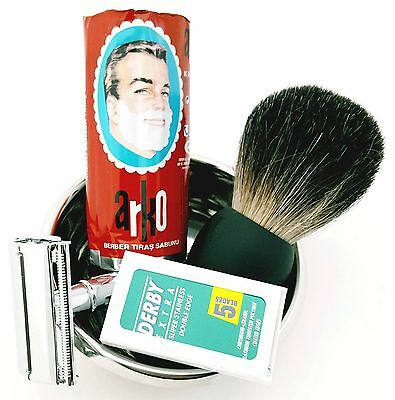 Badger Brush Safety Razor Arko Shaving Soap Bar Steel Bowl with 10 Derby Blades