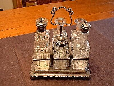 Antique 19ThC English Cut Glass Caster Set Marked GCWF