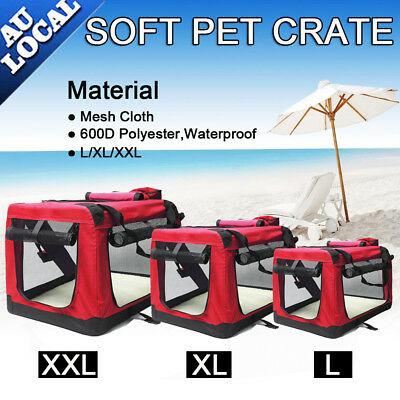Red Pet Soft Crate Portable Dog Cat Carrier Travel Cage Kennel Folding L/XL/XXL