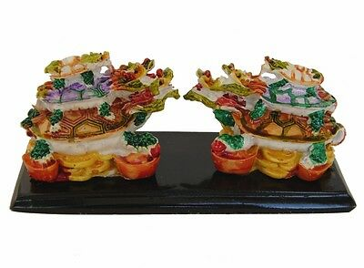 Feng Shui Pair of Colorful Chinese Dragon Tortoise Turtle Status