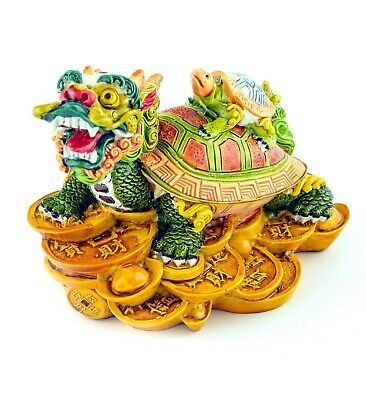 "5"" Colorful Feng Shui Dragon Turtle Tortoise Statue on Chinese Coins & Ingots"