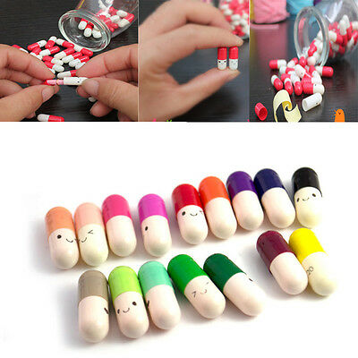 10/50/100pcs Message in a Pill Memo Notes Capsule With Smile Face Random Color C