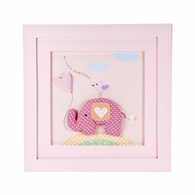 Handcrafted Pink Little Elephant Wall Hanging Picture Decoration for Baby Girls