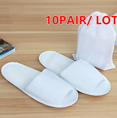 10pair/lot White Breathable Disposable Slippers Hotel Slippers SPA Slippers +bag