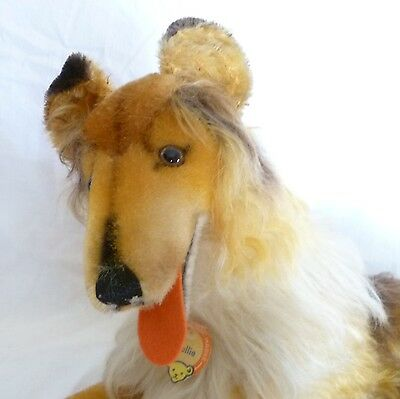 """Large Vintage Steiff Collie Dog 43cm 17"""" Chest Tag 1960s Laying Down"""