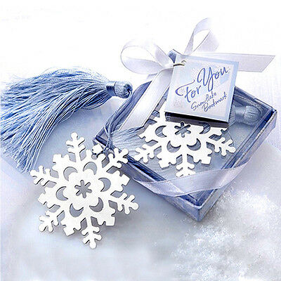 HOT Lovely Exquisite Snowflake Creative  Alloy Bookmark With Ribbon Box Gift