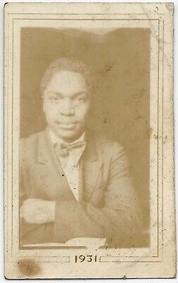 Antique African American Handsome Young Man Old Photo Black Americana