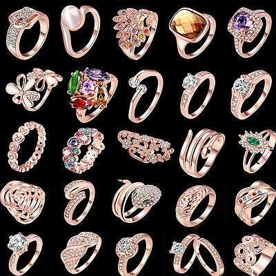 Fashion Women Jewelry 18K Rose Gold Plated Wedding Crystal Ring Size 5 6 7 8 9