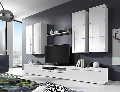 New Wall Unit Living Room Furniture Set Tv Stand High Gloss And Glass Fronts