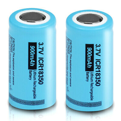 2x Rechargeable Battery ICR 18350 900mAh 3.7V Li-ion Battery Flat Top