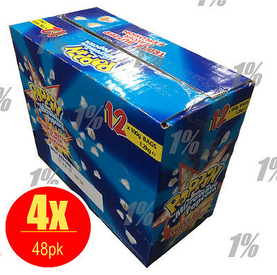 4x box Poppin Microwave Popcorn Triple Butter Flavour Explosion 12 x 100g