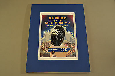 VINTAGE DUNLOP TYRES at EARLS COURT Advertisement 9/28/1949 THE MOTOR Magazine