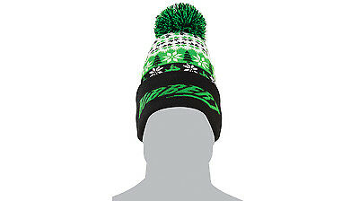 Arctic Cat Adult Hibbert 68 Retro Beanie / Hat with Pom - Black / Lime 5263-068