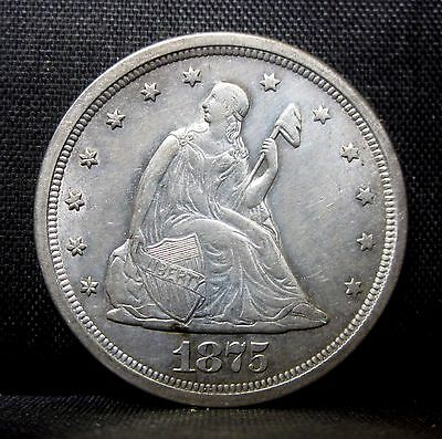 1875-S 20 Cent Piece ✪ Au Almost Uncirculated ✪ L@@k Now Type Uf9 20C ◢Trusted◣