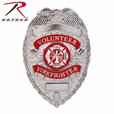 Silver Deluxe Fire Department Shield Volunteer Badge Rothco 1928