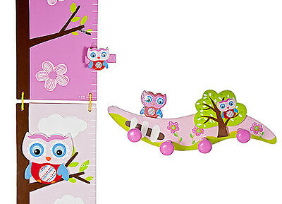 Childrens Kids Baby Pink Owl Height Growth Chart Coat Hooks Girl Nursery Bedroom