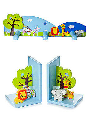 Kids Childrens Jungle Safari Animal Bookends Coat Hooks Boy Girl Nursery Bedroom