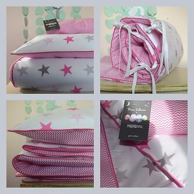 100%COTTON Cot Bed Duvet Cover Set Girls  Grey Pink Stars Mini Chevron  piping
