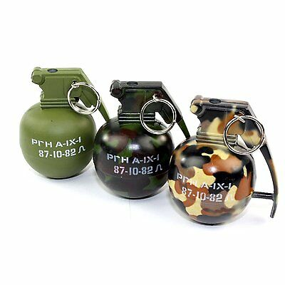 Mini Camo Hand Grenade Metal Refillable Lighter W/ Regular Flame - US Seller