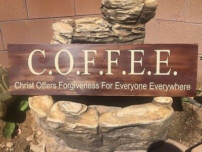 Coffee Christ Offers Forgiveness For Everyone Everywhere Custom Wooden Sign