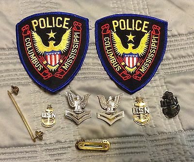 USA - 2 x Police Patches Columbus , MS and U.S. navy pins