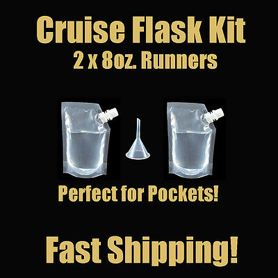 Cruise Flask Kit 3pc Rum Runner Alcohol Liquor Smuggle Booze Plastic Wine Purse