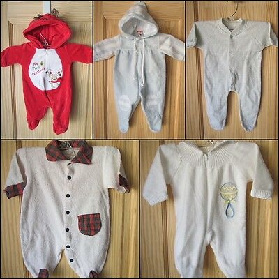 Lot Of 5 Newborn To 3 Months Warm Winter Footed Onesies Unisex Christmas Baby