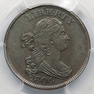 1804 C-9 R-2 NGC AU 58 Crosslet 4 w/ Stems Draped Bust Half Cent Coin 1/2c