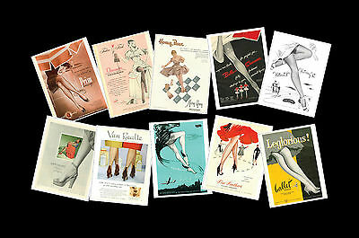 Vintage Nylon Stocking Advert Images on Postcards, Set of Ten re-prints vol 1