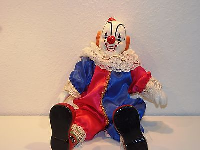 "Hooray For Clowns Rite Aid Porcelain Doll in Red, White, Blue w/ Red Hat ""Smile"