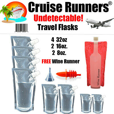 Cruise Flask Kit 10 Pc. Pack Rum Runners Alcohol Sneak Smuggle Liquor Booze Wine