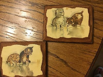 Vintage Pair Carved Kitten Cat Wood Wall Plaques Handmade Mid-Century