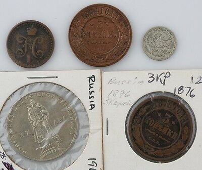 Russian VF Coin Lot 1840 1/2 Kopek 1876 1894 3 Kopek 1900 5 Kopek 1965 1 Rouble