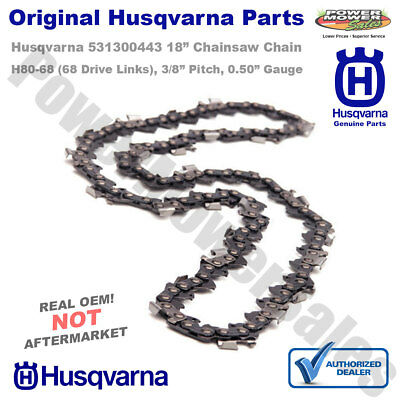 "531300443 Husqvarna 18"" Chainsaw Chain 3/8"" Pitch .050"" Gauge H80-68, 72V68"