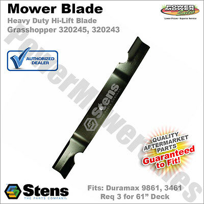 (1) Notched Hi-Lift Blade Repl Grasshopper 320245 Fits Duramax Decks 9861 3461