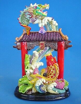 Feng Shui Carp Fish Statue Jumping Over the Dragon Gate