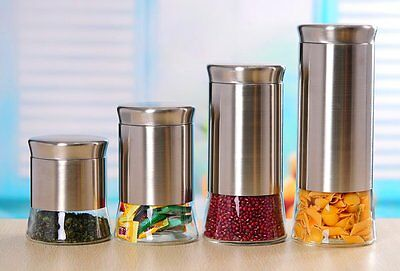 4 Piece Canister Set Kitchen Storage Cabinet Pantry Containers Dry Food