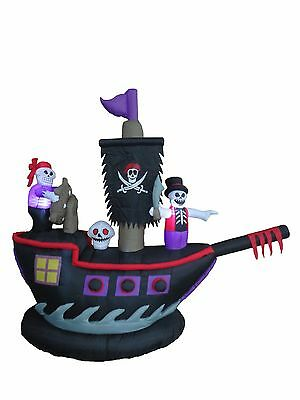 Halloween Inflatable Pirate Ship Skeleton Crews Air Blown Blowup Yard Decoration