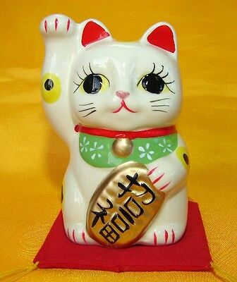 Japanese White Porcelain Lucky Cat with Right Hand Up