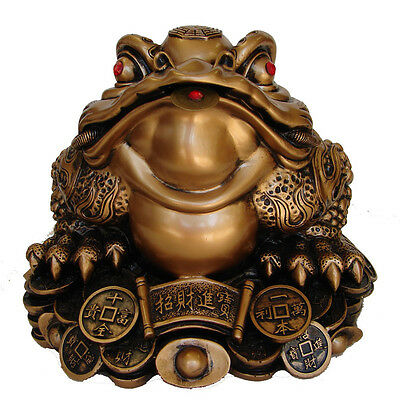 "10"" Big Bronze Color Feng Shui Money Frog 3-legged Toad On Chinese Coins Ingots"