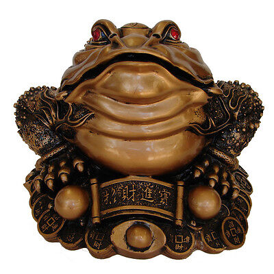 "8"" Big Bronze Color Feng Shui Money Frog 3-legged Toad On Chinese Coins Ingots"