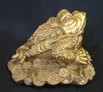 Feng Shui Metal Brass Copper Money Frog Statue 3-legged Toad Figurine On Coins