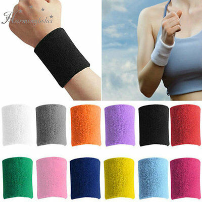 Cotton Unisex Sports Wristband Wrist Support Yoga Gym Tennis Strechy Arm Band