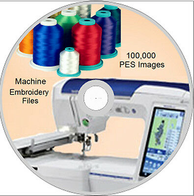 Machine Embroidery designs 100,000 PES on DVD Disc - Brother- WOW