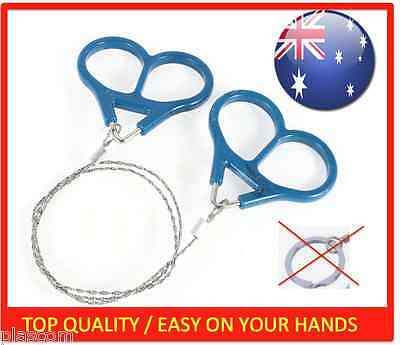 3 x Steel Wire Saw Scroll with Handles Outdoor Camping Hiking Survival Commando