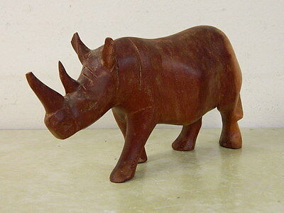 Wood Rhinoceros Rhino Figurine Dark Wood With Light Wood At The Back Wooden