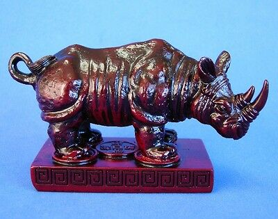 "4"" Rose Wood Color Feng Shui Rhino Statue"