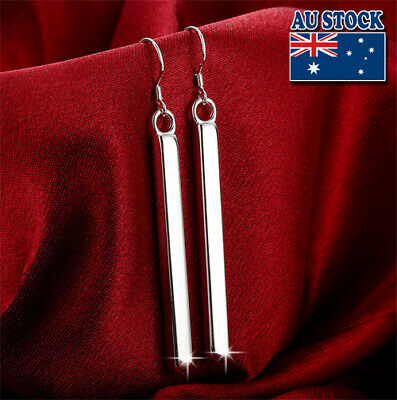 Classic Stunning 925 Sterling Silver Filled High Polished Bar Dangle Earrings