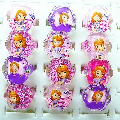 50 cartoon sofia girls children rings kids cute Princess Resin Rings Jewelry