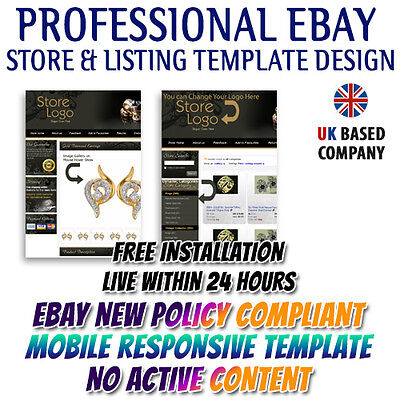 Attractive Bay Store HTML, eBay Listing Mobile Responsive Templates for Jewelry